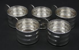 A set of five silver plated Art Deco style cup holders marked BMW to the base. Diameter 7cm,
