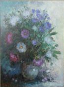 Theo van der Poel (b.1942), a framed oil on canvas, still life flowers in a vase, signed. H.100 W.