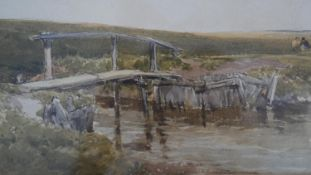 Edmund Morison Wimperis (1835-1900), a framed and glazed watercolour, figures by a bridge,