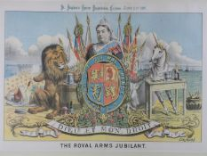 A framed and glazed hand coloured antique engraving of 'The Royal Arms Jubilant', 1887 by Tom Merry.