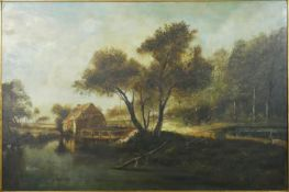 An oil on canvas in carved gilt wood frame, A mill by a river in wooded landscape, signed J Vincken.