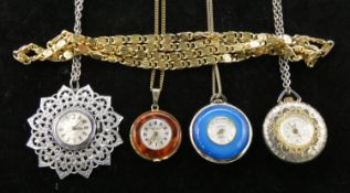Four vintage pocket watches and a gold tone fancy link long chain. Including Bugana Swiss vintage