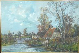 A framed oil on canvas, farm by a river village, signed Baguet. 110x81cm.
