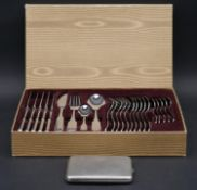 A cased silver plated four piece cutlery service for six settings marked Solingen Germany along with