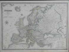 A framed and glazed 19th century map of Europa, published by Antonio Vallardi, 1867. It has