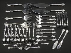 A large collection of Christofle as new stainless steel cutlery with foliage border pattern, very