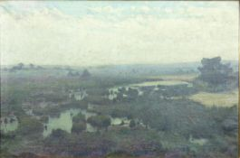 A gilt framed oil on canvas, extensive landscape, signed Roels. 103x73cm.