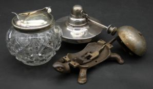 A collection of three antique metal items. To include an antique cast iron bell in the form of a