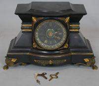 A 19th century French style mantel clock by Hamann and Koch with all over ormolu mounts on scrolling