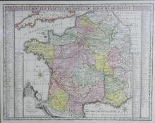 A framed and glazed antique hand coloured map 'Les routes exactes des postes du royaume de France by
