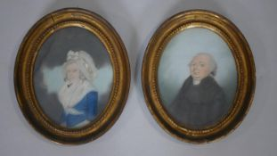 A pair of 19th century gilt framed watercolours, head and shoulder portraits, unsigned. H.24 W.20cm