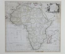 A framed and glazed 18th century map of Africa drawn from the latest and best authorities by