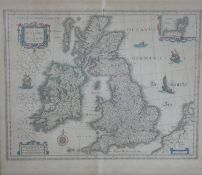 A framed and glazed 19th antique hand coloured William Blaeu map of the British Isles. 'Magnae