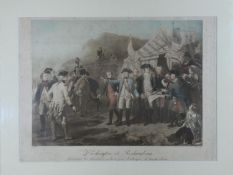 A framed and glazed hand coloured antique engraving of Washington et Rochambeau, 'Final Orders