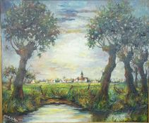 A gilt framed oil on canvas, riverscape with town in distance, signed R de Badrihaye. 108.5x78cm.