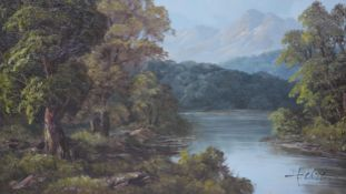 A framed oil on canvas depicting a river landscape with mountains in the background. Signed T.