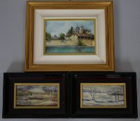 A pair of framed oil paintings on metal, landscapes, monogrammed and inscribed to the reverse and an