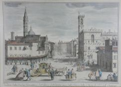 A Framed and glazed antique hand coloured engraving of a Italian town after Giuseppe Zocchi.