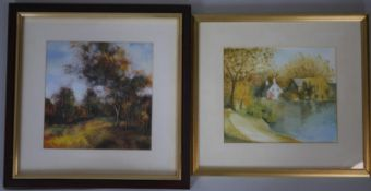 A framed and glazed oil on board of a landscape, indistinctly signed along with a framed and