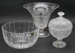 A collection of crystal items. To include an Atlantis heavy cut crystal fruit bowl, an engraved