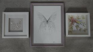 Three framed and glazed butterfly artworks. Two mixed media paper cut signed artworks of butterflies