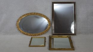 A miscellaneous collection of four various wall mirrors. H.86 W.60.5cm (Largest)