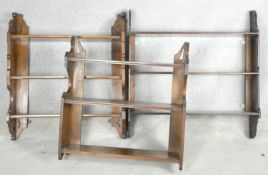 A collection of three late 19th century open wall hanging bookshelves. H.70 W.71 D.15