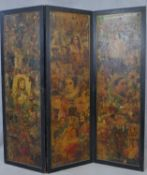 A Victorian scrap screen with three lacquered panels and frame with all over scrap decoration to
