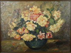 Jacobus Johannes Doeser (1884-1970), a framed oil on canvas, still life flowers in a vase, signed.