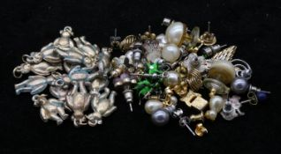 A collection of various earrings, sixteen pairs and three single along with fourteen gold plated
