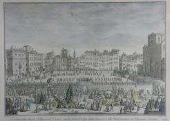 A framed and glazed antique hand coloured engraving by Carlo Gregori showing the Piazza invaded by