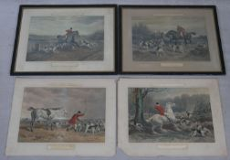 Four antique hand coloured hunting prints. Two framed and glazed. Depicting scenes from 'Fores