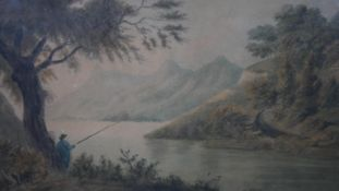 A 19th century framed and glazed watercolour, angler by a river, unsigned. H.44 W.54.4cm