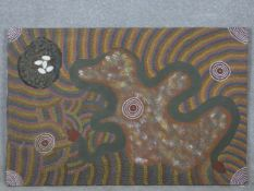 Kathy Bagot Napangardi, an Australian aboriginal oil on canvas, abstract composition, signed and
