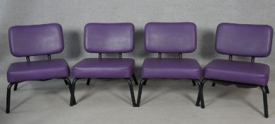 A set of Four vintage retro styled Ness reception chairs on tubular frames. H.70cm