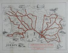 A framed and glazed vintage Map of Jersey by the Jersey Transport Company. With illustrated details.