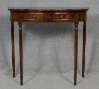A Georgian style mahogany console table by Reprodux. H.73 W.80 D.34cm