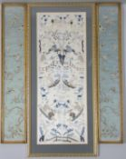 Three Framed and glazed antique Chinese silk embroideries. A pair of forbidden stitch silk
