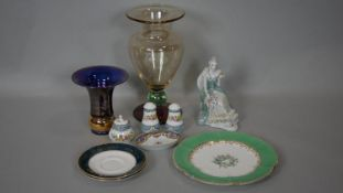 A collection of glass and ceramics. Including a blown art glass vase with tri colour design, a