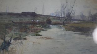 A framed and glazed 19th century watercolour by Henry Charles Fox (1855- 1929). Depicting a river