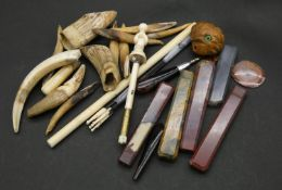 Collection of items. Including a Bakelite carved parasol handle in the form of a parrot head with