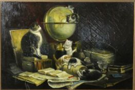 After Henriette Ronner-Knip (1821-1909), a framed oil on canvas, mother cat and her family of