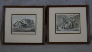 Two framed and glazed antique hand coloured Colonial lithographs 'Our Stage Coaching' and 'Our