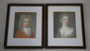 A pair of pastel portraits C.1700, head and shoulder studies of a lady and a gentleman, unsigned,