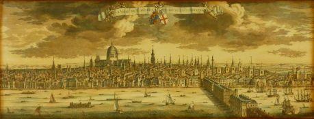 A large Framed and glazed reproduction antique print of London. Titled 'La Ville de Londres,