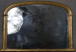 A 19th century style gilt framed overmantel with arched plate. H.81.5 W.116cm