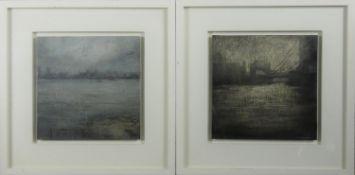 Benjamin Warner (B.1970), a pair of oils on canvas laid on board, London dock scenes, framed,