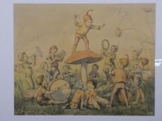 A framed and glazed coloured print of a Margaret Tarrant painting 'The Fairy'. H.64 W.74