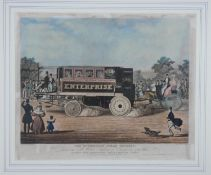 A framed and glazed 19th century hand coloured engraving of 'The Enterprise Steam Omnibus' drawn