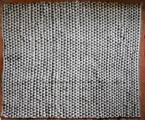 A large black and white weave Kilim with all over repeating triangular pattern. L.300 W.232cm